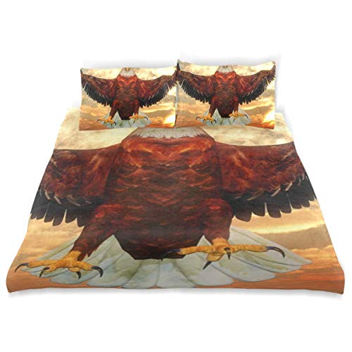 Duvet Cover Set Eagle Flying Front Sunset Wings Wide Decorative 3 Piece Bedding Set with 2 Pillow Shams