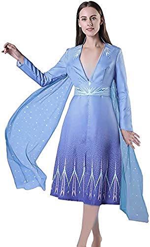 Kostuum elsa vrouw - meisje - carnaval - vermommingen - halloween - luxe - mantel - 2 - kerst - cartoon - blauwe kleur - maat m cosplay