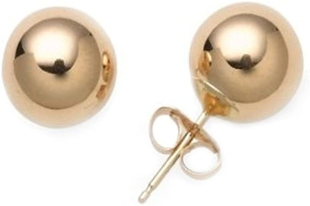 4mm 14kt Solid Yellow Gold Stud Earrings Polished Ball Bead Studs 14k 14 kt