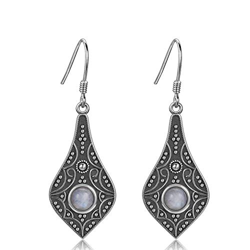 Pendientes de plata de Nobrand, redondos, con piedra lunar natural, para mujer
