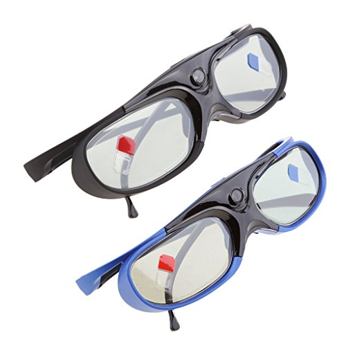 P Prettyia 2X Gafas 3D Recargables para Proyectores DLP-Link Obturador Activo