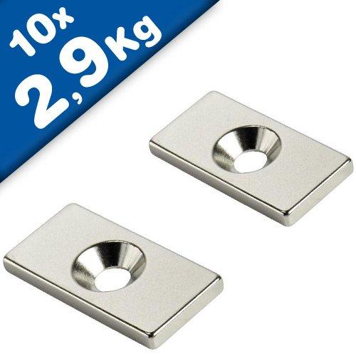 10 x Quadermagnet mit Senkbohrung 20 x 10 x 3mm - Nord - Neodym N35, Nickel - Haftkraft 2,9 kg - 10 Stück - starke Magnete (Supermagnete) mit extremer Haftkraft für Industrie und Zuhause