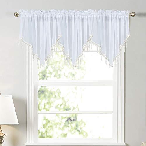 SWECOMZE 1 Stück Weiße Perlen-Volant-Vorhang,Gardinen Küche Bistrogardinen Transparent Stores Vorhänge Mit Perlen,Querbehang für Fenster, Küche, Schlafzimmer (Weiß)