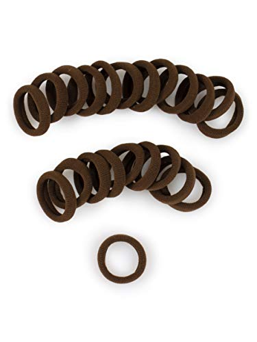 Heliums Small Medium Brown Gentle Hold, 1 Inch Mini Sized, Soft and Stretchy Seamless Elastic Nylon Fabric Rolled Ponytail Holders for for Kids, Braids and Fine Hair - 20 Hair Ties