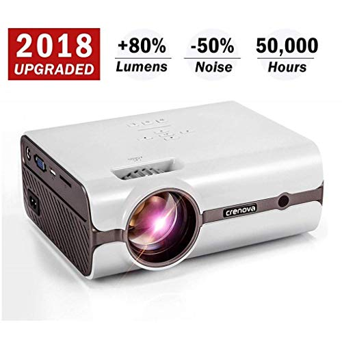Projector, 2018 Upgraded (+80% Lumens) Crenova XPE496 1080P HD Home Portable Video Projector (for PC/MAC/TV/DVD/Movies/Games/Outdoor with USB/SD/AV/HDMI/VGA Input)