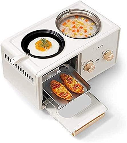 ZFQZKK 4 en 1 Máquina de fabricantes de desayuno, Mini horno de tostadora multifuncional con temporizador, antiadherente y plancha fácil de limpiar, olla de huevo fabricante de tortillas