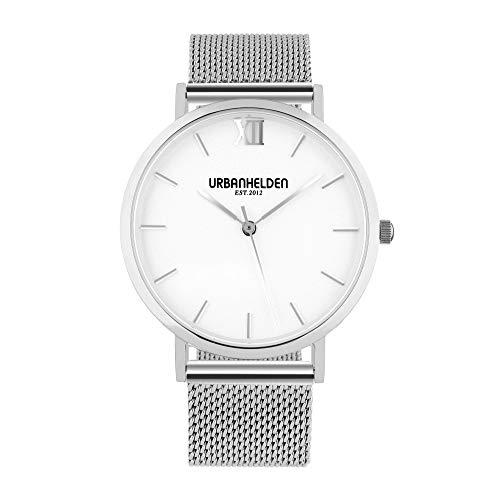 URBANHELDEN Armbanduhr Versum mit Mesharmband - Damenuhr Edelstahl, Saphirglas, Schweizer Quarzwerk, 36 mm - Universal Metall Armband Silber/Weiß