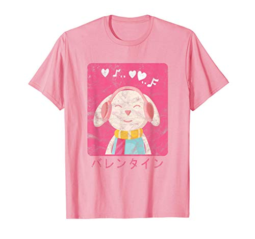Valentines In Japanese Bunny Anime Grunge Retro Vintage T-Shirt