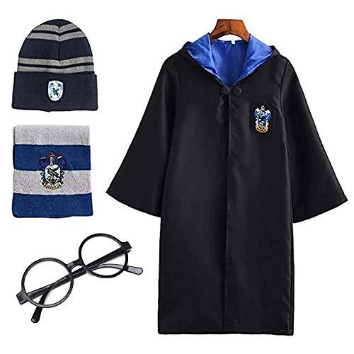 Deciduous Harry Costume for Kids Unisex Ravenclaw Cloak Cape Hat Scarf...