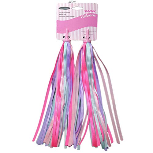 LIOOBO a pair of children bike handlebar ribbons colorful scooter tassels(pink and purple)