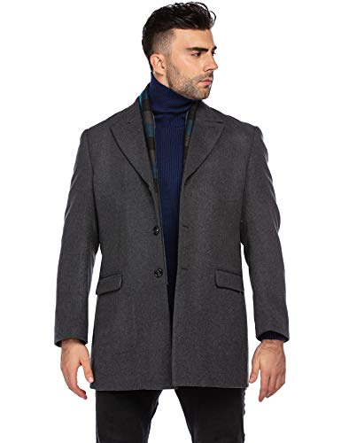 COOFANDY Mens Business Winter Coats with Detachable Scarf Short Wool Trench Coat Casual Peacoats (Grey XL)