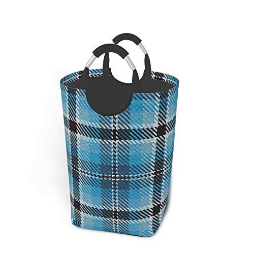 Meiya-Design Panier à linge pliable Turquoise Ciel et Bleu Noir Et Une Dash de Blanc Plaid Grand panier de rangement pliable pour vêtements sales Jouets Livres