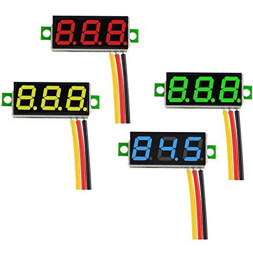 GTIWUNG 4 Pcs Mini Digital voltímetro,0.28 Pulgadas Mini Voltímetro Digital DC Tres líneas 0-100V Mini probador de Voltaje Pantalla LED Protección de polaridad inversa y medición de presión pr