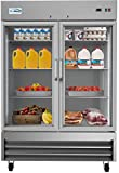 KoolMore - RIR-2D-GD 54' 2 Glass Door Commercial Reach-in Refrigerator Cooler with LED Lighting - 47 cu. ft, Stainless...