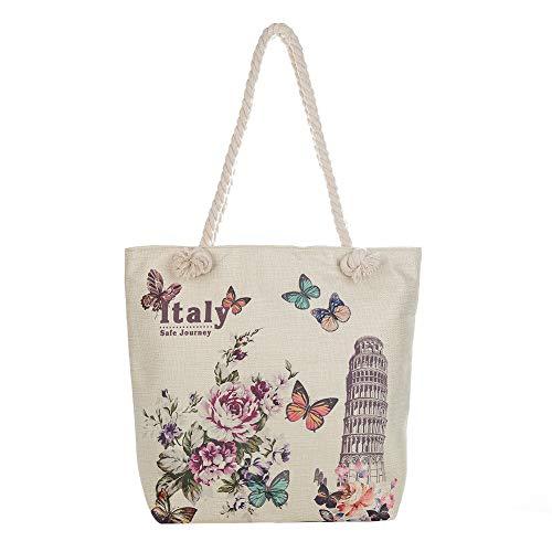 MoGist Strandtasche mit Reissverschluss Schönes Blumen Schmetterling Muster Handtasche Damen Shopper Schultertasche Umhängetasche (Style4)