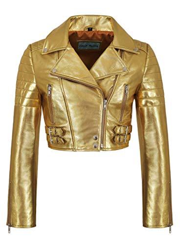 Smart Range Falda de Cintura Alta para Mujer - Corte Corto, Oro Plata - Chaqueta de Piel de Cordero Genuina 5625