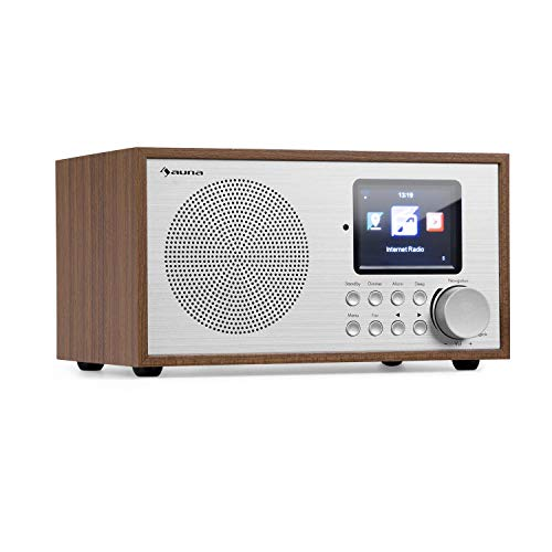 auna Silver Star Mini Internetradio - DAB+/UKW WLAN Radio, Webradio mit 8 Watt RMS Leistung, USB, AUX-In, Line-Out, 2,8'' HCC-Display, Weckfunktion, inkl. Fernbedienung, Eiche