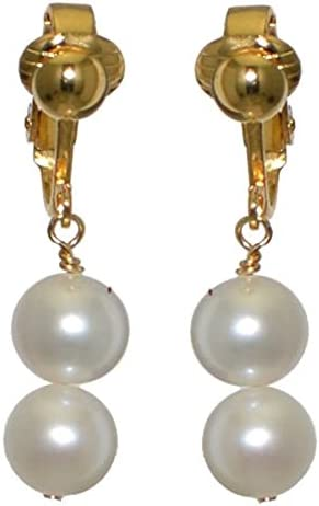 FRESCA DUO Gold Plated 10mm Freshwater Pearl Clip On Earrings