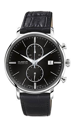 Dugena Herren-Armbanduhr Festa Chronograph - Traditional Classic Analog Quarz Leder 7000181