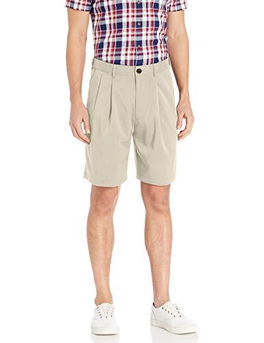 SAVANE Hombres SWBS7072 Pantalones Cortos Plisados - Beige - (32W) US