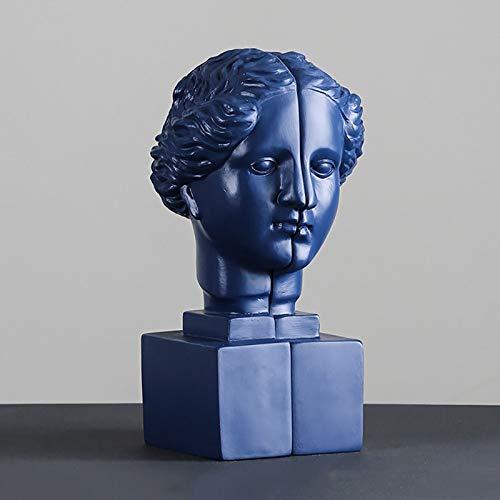 Venus Estantería de resina abstracta creativa Obra de arte Sala de estudio Simulación de personajes Adornos decorativos paraelhogar Exhibición de oficina Sujetalibros Regalo de,1 par,Darkblue