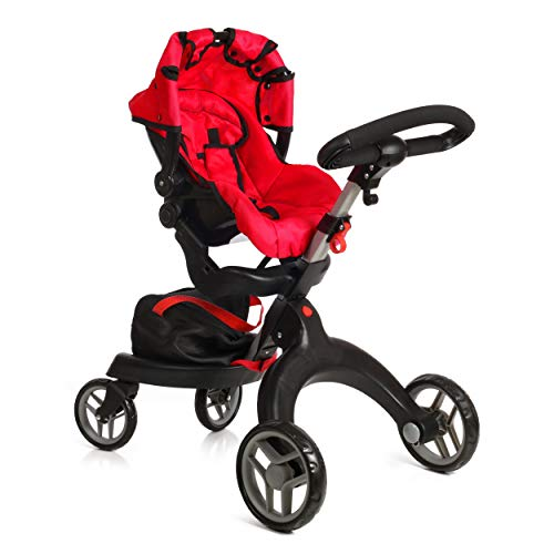 Mommy & Me SoCutie Doll Stroller with Swiveling Wheels and Adjustable Handle. 31' Tall, Carriage Bag Included