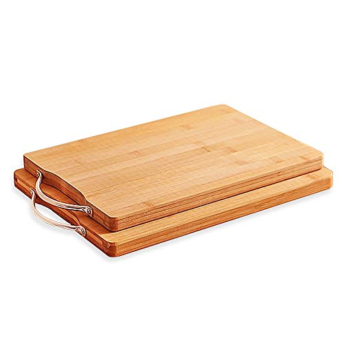 AKOZLIN 調理用まな板 天然竹製 まな板 抗菌 立て型 竹まな板 軽量な環境に優しい 竹 の カッティングボード 使い分け フック付 肉野菜果物 調理・製菓道具 2枚セット40×30×1.8cm&30×20×1.8cm