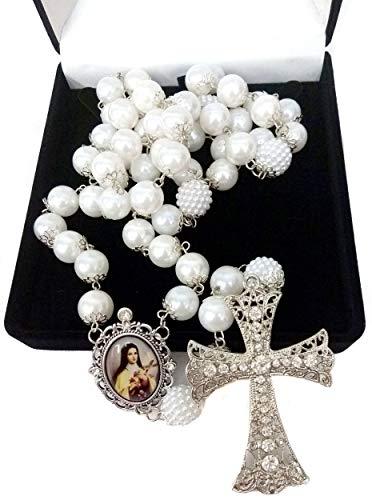 Terço De Noiva Prata Pérolas Brancas Santa Terezinha