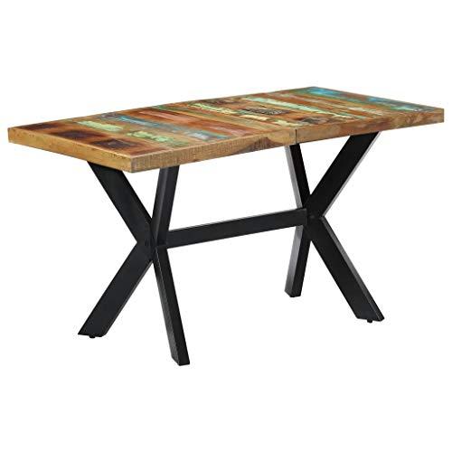 vidaXL Mesa Comedor Industrial Diseño Vintage Moderno Rústico Madera Maciza Reciclada Mueble Salón Cocina Interior Exterior Rectangular Multicolor