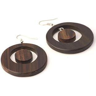 Customer reviews 81stgeneration Women's Wood .925 Sterling Silver Round Brown Dangle Hoop Earrings
