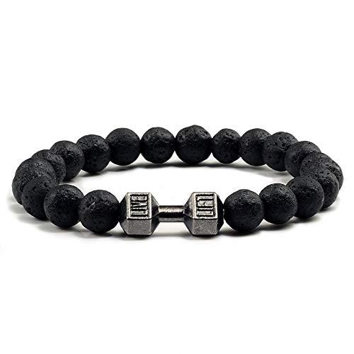 ZKZDSL Armband Lava Stein Hantel Armband Schwarz Matt Perlen Armbänder Für Frauen Männer Fitness Barbell Schmuck Schwarz