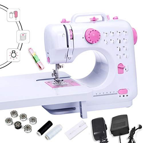 Draagbare naaimachine, mini-naaimachine, 2 snelheden, met spoelen en naaigaren, roze/wit, gebruik van het nachtlampje -1,13