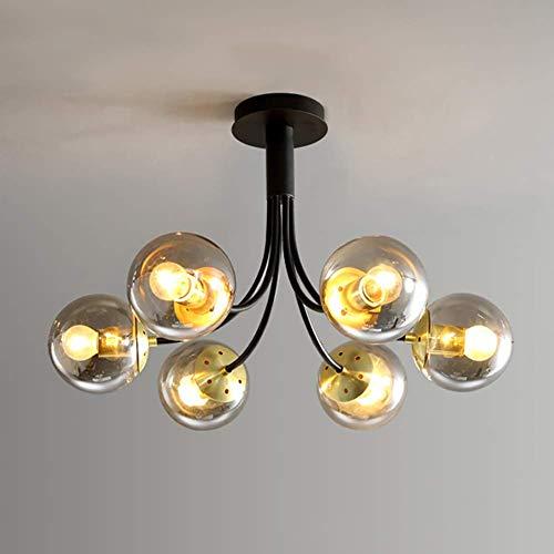 Lustre à bulles de boule de verre à 6 lumières, E26 Spoutnik Branches plafonnier 63cm encastré intérieur pendentif lumière décor moderne luminaires pour chambre couloir salle à manger salon