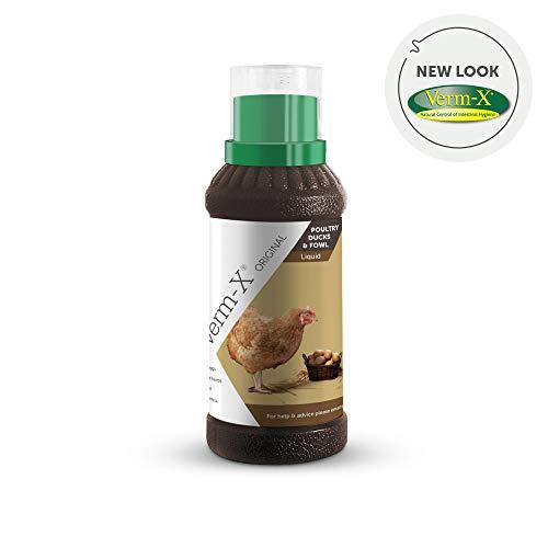 Verm-X Flüssig für Geflügel, 250 ml. Statt chemischer Wurmkur für Hühner, Gänse, Enten, usw. eine natürliche Kontrolle innerer Parasiten mit der bewährten Verm-X Kräuter-Rezeptur.