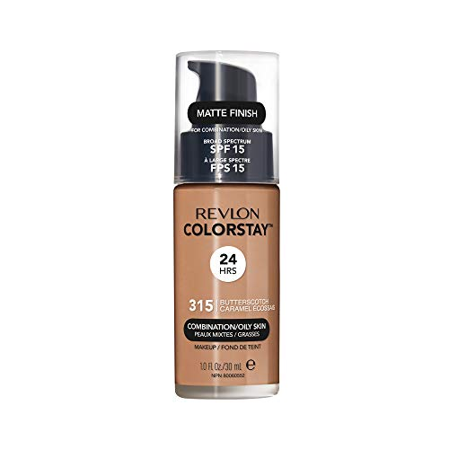 Revlon ColorStay Makeup for Combination/Oily Skin SPF 15, Longwear Liquid Foundation, with Medium-Full Coverage, Matte Finish, Oil Free, 315 Butterscotch, 1.0 oz