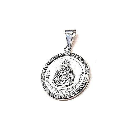 Colgante Plata Ley 925M 20mm. Medalla Virgen Carmen Unisex