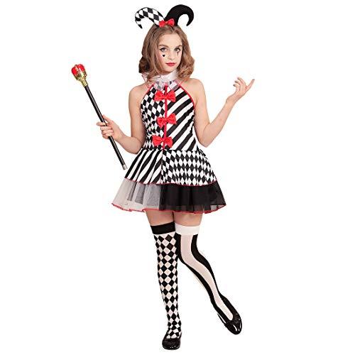 NET TOYS Atractivo Disfraz de arlequín para niña - 135 - 140 cm, 8 - 10 años - Lindo Vestido Infantil Pierrot Vestido con Sombrero - El Punto Alto para Fiestas de Disfraces y Carnaval Infantil