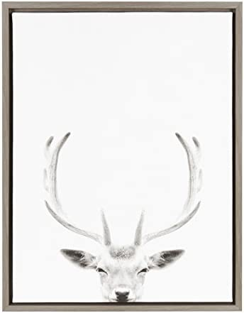 Kate and Laurel Sylvie Deer with Antlers Black and White Portrait Framed Canvas Wall Art by product image