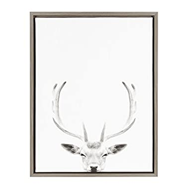 Kate and Laurel Sylvie Deer with Antlers Black and White Portrait Gray Framed Canvas Wall Art by Simon Te Tai