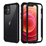 seacosmo Cover iPhone 12, Cover iPhone 12 PRO, 360 Gradi Rugged Custodia iPhone 12/12 PRO Antiurto Trasparente Case con Protezione Integrata dello Schermo in 6.1 Pollici, Nero