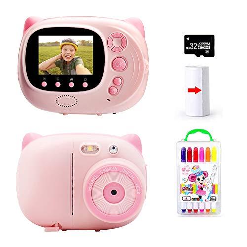TOYOUSONIC Macchina fotografica istantanea per Bambini, Bambina Fotocamera 1080P Videocamera Digitale Portatile 3-12 anni LCD da 2 Pollici Supporto pe