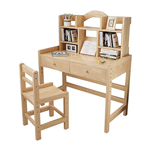 FEANO Solid Wooden Student Desk and Chair Set Home School Use with Two Large Drawers and Some Bookshelves Adjustable Height Smooth Yellow Surface