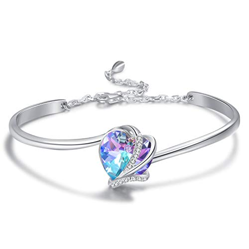 Sterling Silver Love Heart Adjustable Bangle Bracelet for Women with Crystals from Swarovski, Birthday Anniversary Jewellery Gifts for Mum Wife Girlfriend Her (Purple)