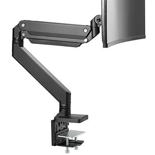 AVLT Single 13 -43  Monitor Arm Desk Mount fits One Flat Curved Ultrawide Monitor Full Motion Height Swivel Tilt Rotation Adjustable Monitor Arm - Black VESA C-Clamp Grommet Cable Management