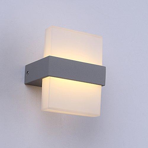 Lampada 7 W da parete Lanfu bianco caldo di disegno LED luci eleganti e moderne a parete ideali per camere da letto, soggiorno, scale e saloni / 150 * 120 * 90mm / lampada principale corridoio di certificazione CE [Classe energetica A +++] argento e vetro /