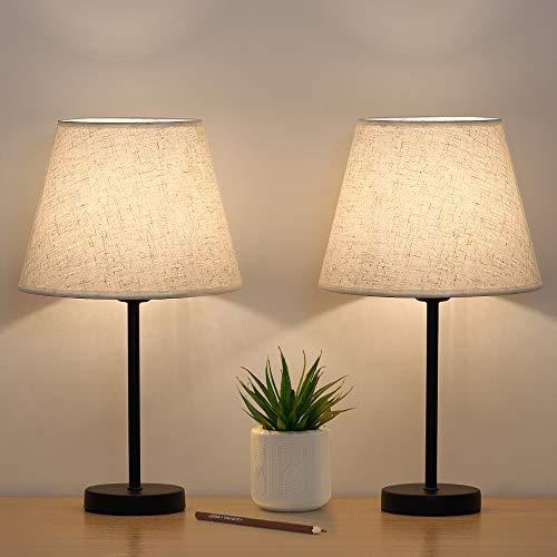 Lámpara pequeña de mesa de noche, juego de 2 unidades, lámparas de mesita de noche, lámparas de lino con base de metal para dormitorios, salones, oficinas y habitaciones