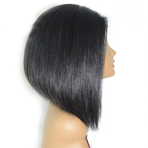 Lanceasy Damenperücke, mittellang, gerader Kopf, kurze Haarabdeckung, Bob-Frisur, Frontspitze