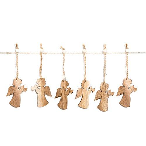 Logbuch-Verlag 6 kleine Holz-ENGEL Weihnachts-ANHÄNGER Holzanhänger Weihnachtsanhänger Weihnachtsbaumschmuck Christbaumschmuck Geschenkanhänger Schutzengel