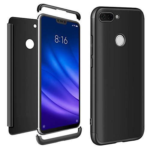 AROYI Funda Xiaomi Mi 8 Lite, Xiaomi Mi 8 Lite Carcasa 3 in 1 Rígida PC Protective Anti-rasguños Case Cover Caso para Xiaomi Mi 8 Lite-Negro