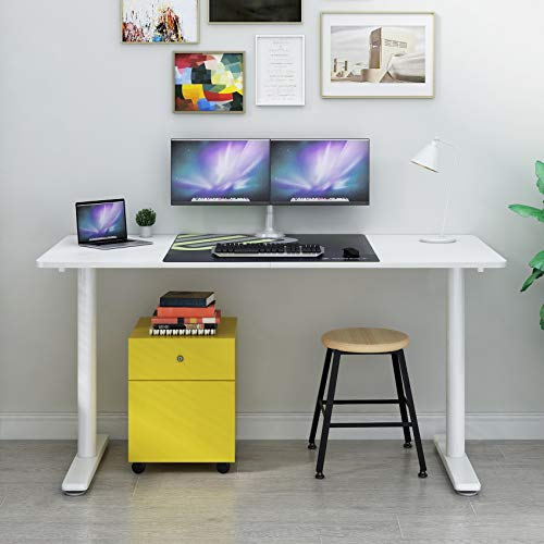 Eureka Ergonomic 60 inch Computer Desk, Modern Simple Style Home Office PC Writing Desk Table Easy Assembly, White